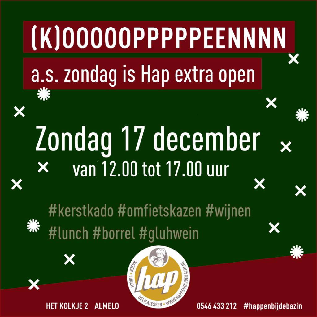 Hap is zondag 17 december open. Koopzondag en kerstmarkt in Almelo.
